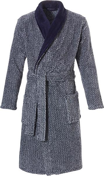 Pastunette for men soft fleece badjas blauw gemêleerd