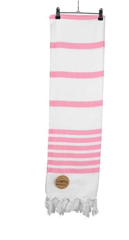 A&R original luxe hamamdoek  Dalaman 100x180 cm white/pink
