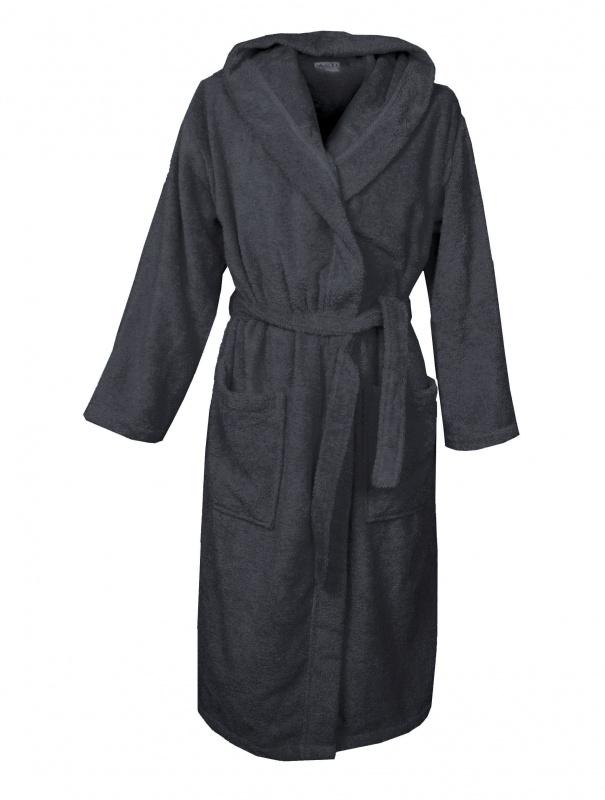 Badstof badjas A&R met capuchon 100% katoen zwart XXS t/m XXXL