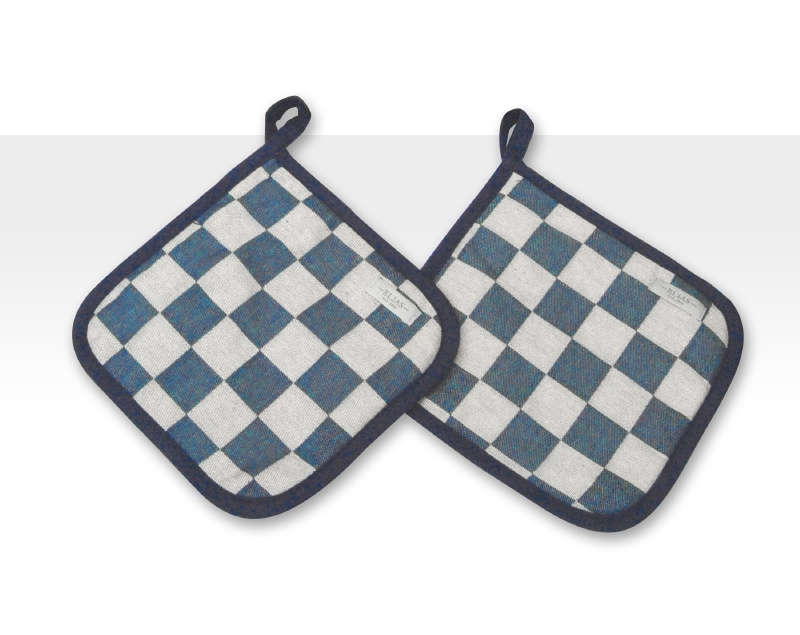 Pannenlappen Elias pompdoek blauw set 2 stuks