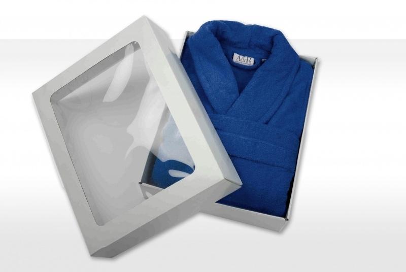 Badstof badjas A&R met sjaalkraag 100% katoen true blue XXS t/m XXXL