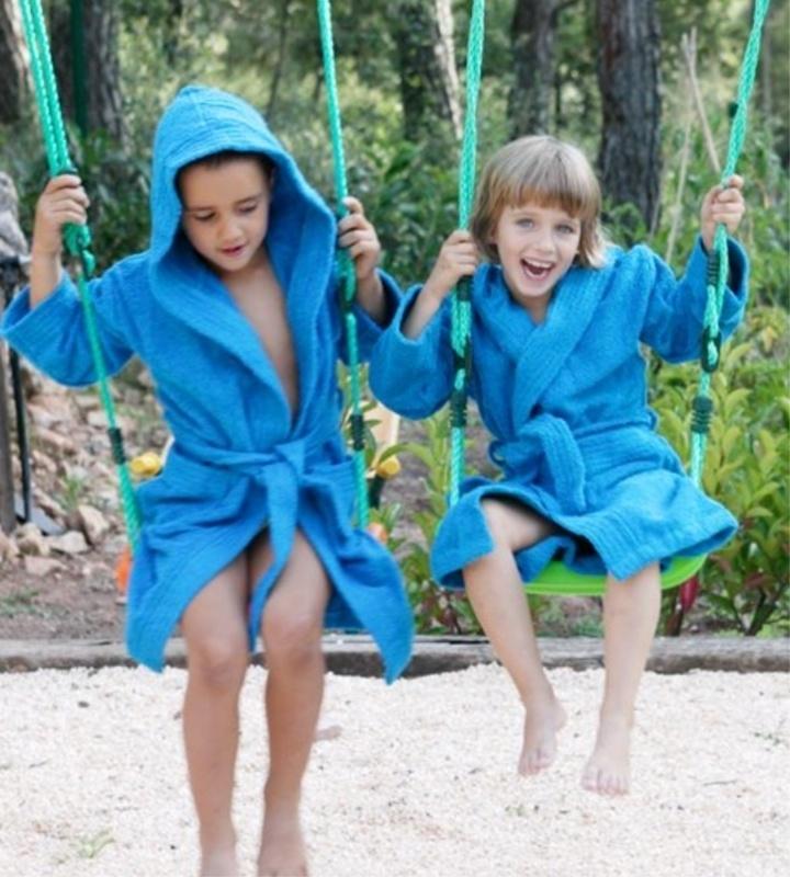 Kinderbadjas Lasa met capuchon badstof kleur turquoise maat 128-140-164