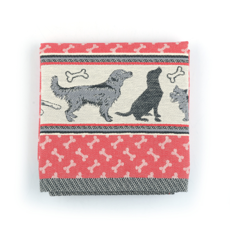 Keukendoek (handdoek) Bunzlau Castle Hond rood