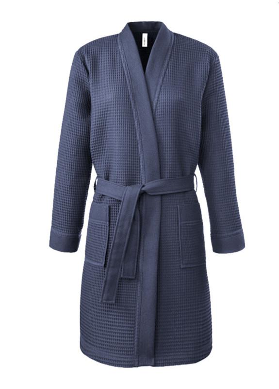 Dames wafelbadjas kimono Taubert Thalasso (short) navy 100% katoen soepelvallend  XS t/m XXL