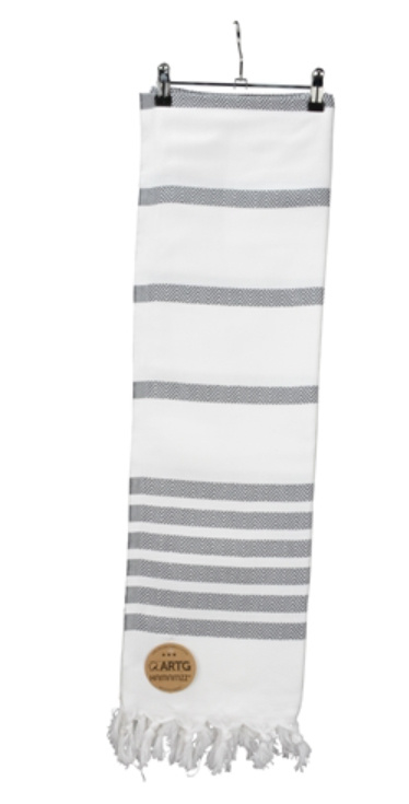 A&R original luxe hamamdoek  Dalaman 100x180 cm  white/grey