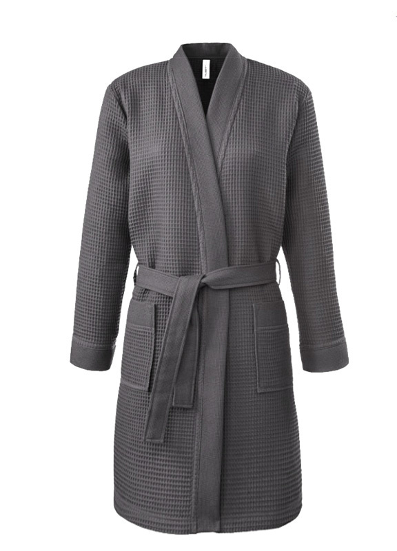 Dames wafelbadjas kimono Taubert Thalasso (short) antraciet 100% katoen soepelvallend  XS t/m XXL