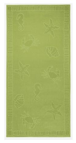 Strandlaken seafood  XL katoen velours kleur seagreen 100x200 cm