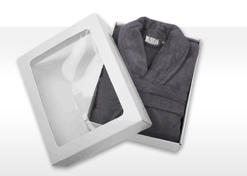 Badstof badjas A&R met sjaalkraag 100% katoen graphite XXS t/m XXXL