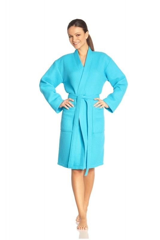 Badjas Vossen Rom zomer wafelbadjas turquoise (557) XS t/m XL