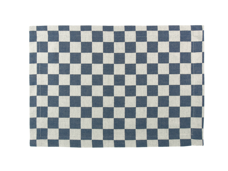 Placemat Elias pompdoek 35x50 cm, rood, blauw of zwarte ruit