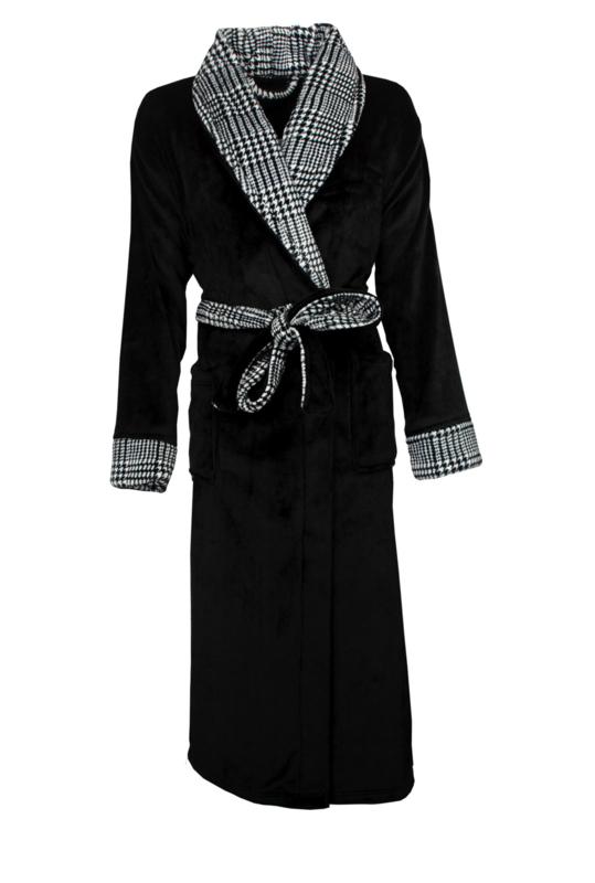 Tenderness dames badjas superzachte coral  fleece  kleur black  S t/m 3XL