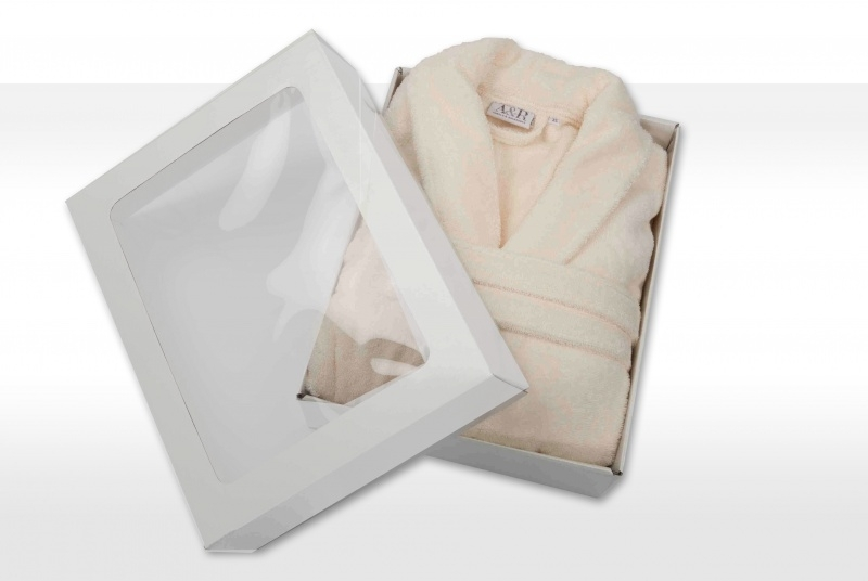 Badstof badjas A&R met sjaalkraag 100% katoen ivory XXS t/m XXXL