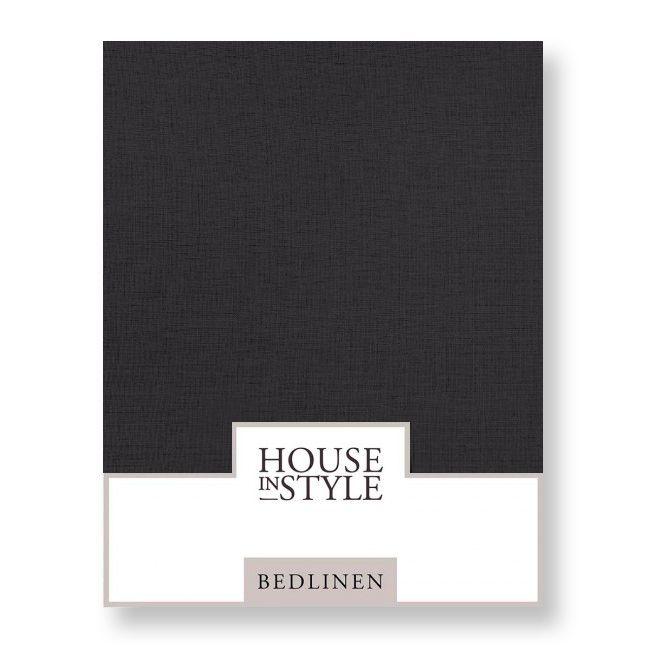 House in Style hoeslaken Bilbao katoen percal kleur off black