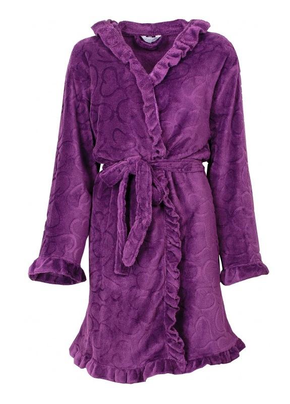 Tenderness dames badjas coral fleece purple Maat L
