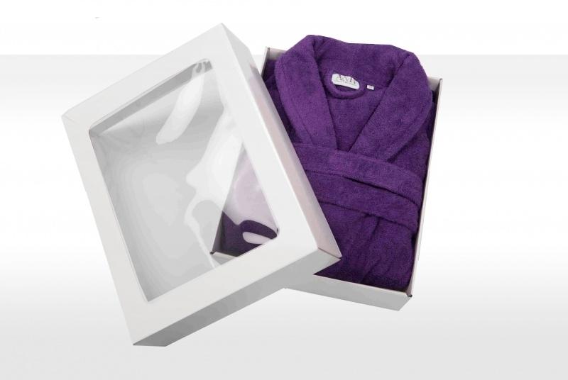 Badstof badjas A&R met sjaalkraag 100% katoen paars XXS t/m XXXL