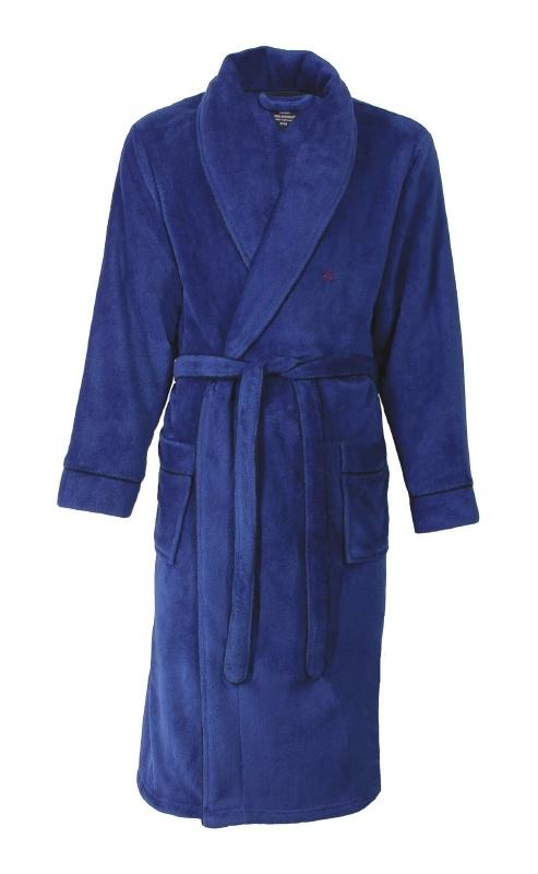 Heren badjas ochtendjas met sjaalkraag Paul Hopkins coral fleece  limoges S t/m XXL