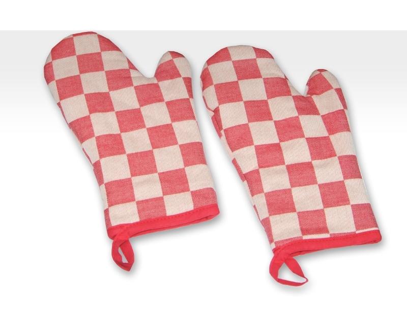 Ovenwanten Elias pompdoek rood set 2 stuks