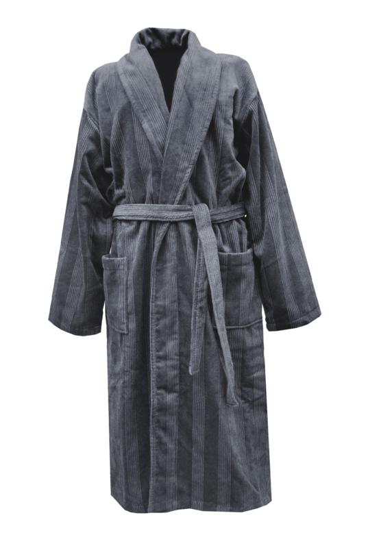 Heren badjas Elias Deep 100% katoen velours maat S/M en L/XL kleur dark grey