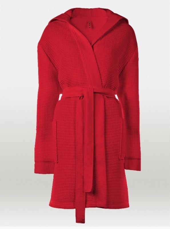 Dames wafelbadjas Taubert Thalasso (short) rood 100% katoen soepelvallend met capuchon XS t/m XXL