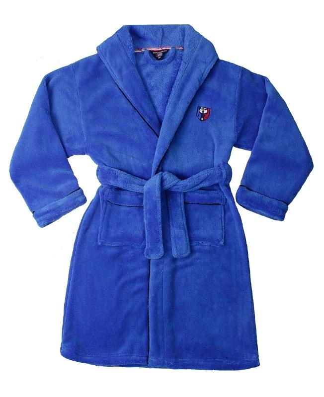 Jongens badjas Blue docks met capuchon en logo coral fleece strongblue maat 140