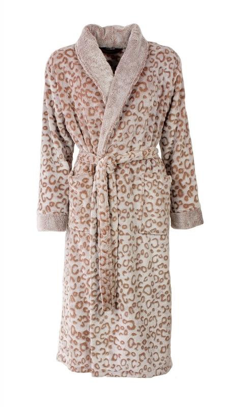 Dames badjas Medaillon panter superzachte coral fleece maat  XXL
