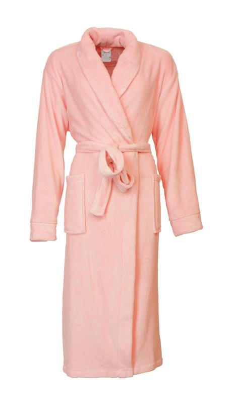 Dames coral fleece badjas Tenderness met sjaalkraag veiled rose S t/m XXL