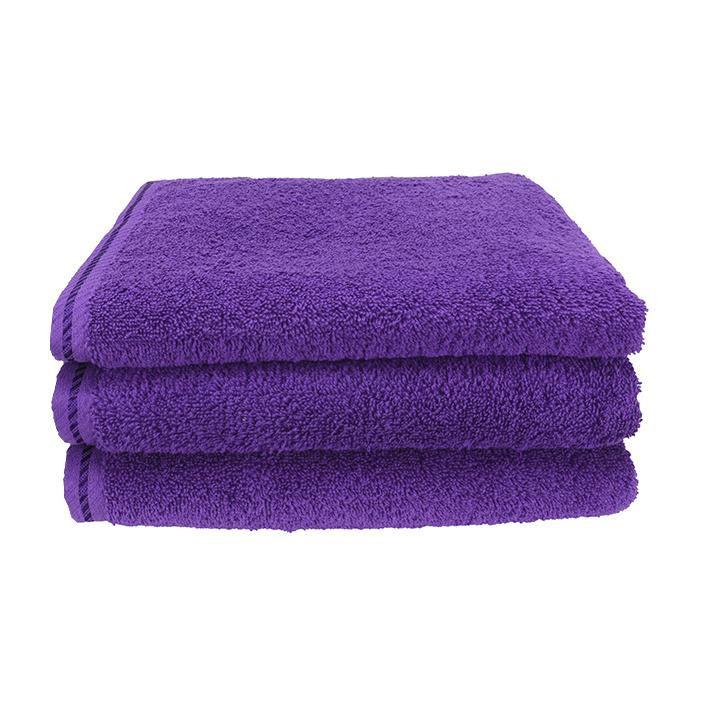 Handdoek A&R 50x100 cm paars set 3 stuks