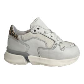 Pinocchio P1796 meisjes sneaker wit leo