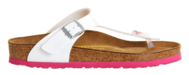 Birkenstock Gizeh white outsole pink