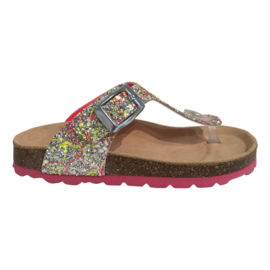 EB Shoes 0105H6 glitter meisjes slipper multi fuxia