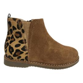 Beberlis 21675-W21-A  meisjes kort laarsje bruin met leopard