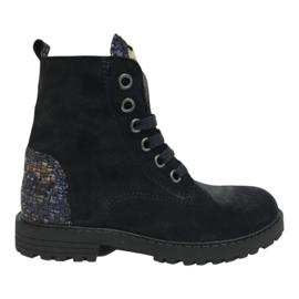 Clic CL-20210/2C meisjes veter boots met hartje donker blauw