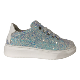 EB Shoes 1704R8 glitter meisjes sneaker wit