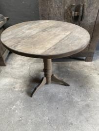 Oud vergrijsd houten tafel tafeltje rond 82cm bijzettafel bijzettafeltje wijntafel wijntafeltje landelijk stoer grijs