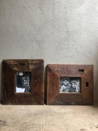 Sloophouten fotolijst lijstje grof ruw hout landelijke stijl fotolijstje 40 x 35 cm