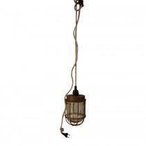 Vintage hanglamp lantaarn landelijk stoer industrieel jute touw bruin metaal glazen stolp
