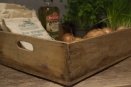 Stoer houten teakhouten mand kratje landelijk kistje tray schaal bak la lade schuifla schuifbak landelijk stoer vergrijsd hout oud
