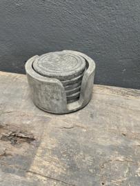 Set van 6 houten onderzetters onderzetter in houder landelijk stoer vergrijsd hout stoer