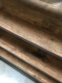 Groot industrieel kledingrek kleren Schoenenrek trolley kast vintage winkelrek keukenrek rek met aal hout 4 houten legplanken landelijk legplank wieltjes trolley