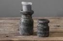 Grijs houten kandelaar Nepal pot kruik L black finish kruikje potje landelijk stompkaarskandelaar grey