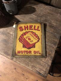 Oud Metalen reclame platen plaat reclamebord shell gasoline vintage retro industrieel