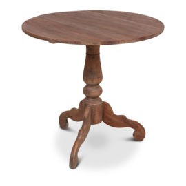 Grote oud houten tafel eettafel eetkamertafel rond 80 cm bijzettafel wijntafel wijntafeltje landelijk stoer