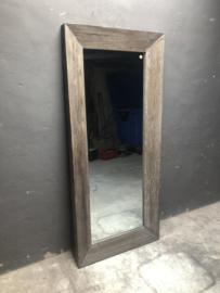 Stoere vergrijsd houten spiegel passpiegel 180 x 80 cm landelijk stoer industrieel