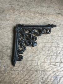 Gietijzeren schapdrager plankdrager zwart 12 cm  beugel klein Classic krul planken steun plankensteun beugel haak hoek plat industrieel