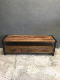 Stoer tv meubel dressoir tv-kast sideboard Sidetable kast lage kast ladekast zwart metaal hout vintage