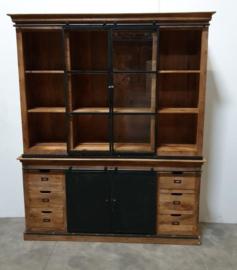 Grote zwart metalen met houten kast vitrine wandkast servieskast 220 x 175 x 45 cm landelijk industrieel vintage