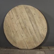Groot oud doorleefd rond licht blank houten tafelblad 140 cm naturel natural elmwood olmhout olmwood