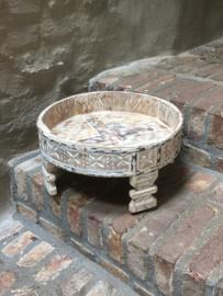 Stoer houten tafeltje ghatti grinder 38 cm kandelaar opstapje rond landelijk Ibiza vintage india