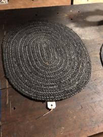 Zwart grijze ovale placemat antraciet onderlegger onderleggers