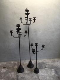 Gietijzeren vloerkandelaars vloerkandelaar 143 cm theelichtjes  staand staande kandelaar landelijk roestbruin